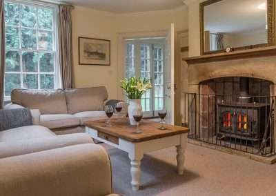 Open fire in the snug at Bear's Cottage holiday accommodation in Norfolk