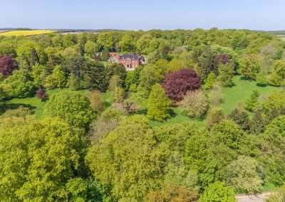 Aerial view of Fring Estate house in north west Norfolk