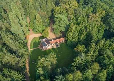 An aerial view of Bear Cottage, a secluded holiday cottages in Norfolk
