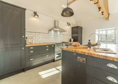 The modern kitchen at Market Square House, newly renovated into a stunning holiday cottage in Norfolk