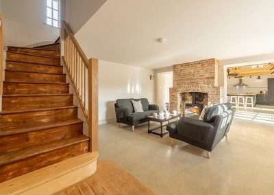 The spacious living area of Market Square House, perfect for a family holiday